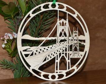 Bridge ornament wooden desk window decoration woodcut St Johns Bridge