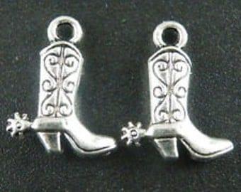 Silver boot charm Tibetan cowboy boot  charm 10 charms  3D boot charm