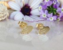 20% off-SALE!!! Gold Hamsa Earrings ,Studs Earrings, Small Post Earrings, Siver Earrings, Tiny Studs, Simple Earrings, Everyday Jewelry