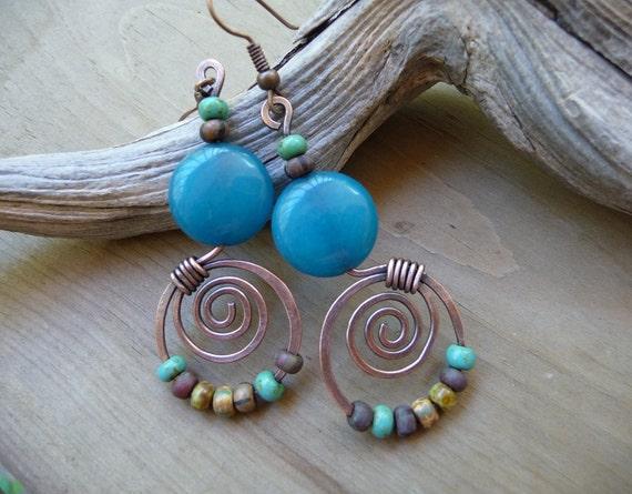 Turquoise Jade Earrings, Gemstone Earrings, Aqua Beaded Earrings, Multi Color Earrings, Turquoise Dangle, Copper Jewelry, Blue Turquoise
