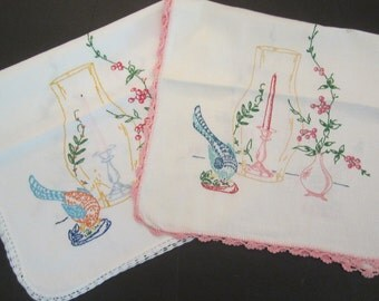 Vintage Runner Pair with Birds, Candles and Flowers