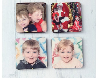 Personalised hardboard fridge magnets set of 4 - great for Instagram photos!