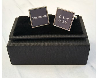 Groomsman square personalised wedding cufflinks - wedding date and initials
