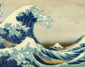 Great Wave Off Kanagawa by Hokusai, various sizes, Giclee Canvas Print