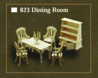 DINING ROOM Model Furniture Kit in 12th Scale for Dolls House, Brand New