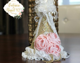 Princess Birthday Hat - Princess Birthday - Couture Birthday Hat - Photo Props - Dollcake - Birthday Girl - Vintage Inspired - Princess Hat