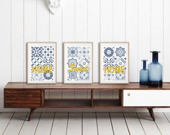 3 posters with ciment geometrically pattern