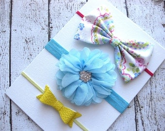 Headbands for Babies - Baby Hair Bands - Baby Headbands - Infant Headbands - Mini Baby Bow Headband - Faux Leather Bow - Fabric Bow Headband