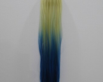 High Heat Synthetic Drawstring Ponytail Hair Extension Ombre Dip Dye Balayage #60 Blonde into Mermaid Blues