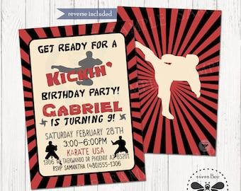 Karate Birthday Invitation Printable, DIGITAL Ninja Birthday Invite