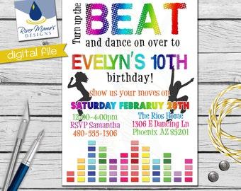 Printable Dance Party Birthday Invitation / DIGITAL Colorful Rainbow Party Invite