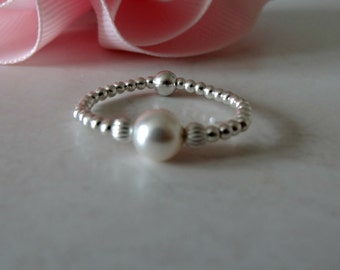 beautiful stretch ring pearl ring 925 swarovski elements