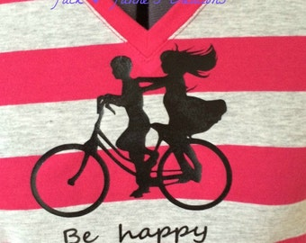 Be Happy Ladies T with kids on bike graphic