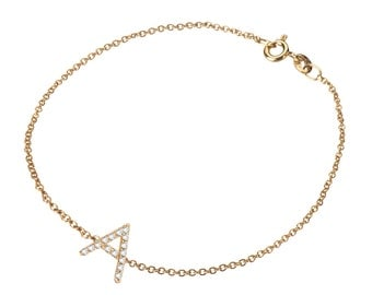 diamond initial bracelet, solid 14k gold, pave diamond