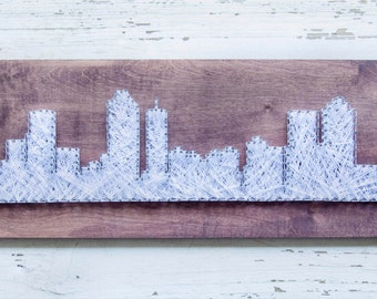 City Skyline String Art - Skyline Wall Art - Atlanta Skyline - City scape - Wood Wall Decor - Wood Wall Art
