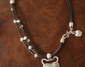 Leather and Pewter Necklace