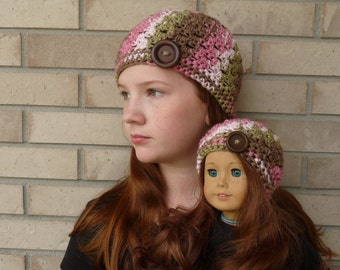 Matching Girl & Doll Hat Set--Pink/Brown Multi with Button