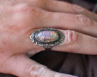 Vintage Glass Foil Marcasite Sterling Silver Ring Sz 4