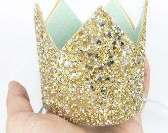 Gold Glitter Crown - Birthday Crown - Glitter Crown - Cake Smash Crown - Peekabloom