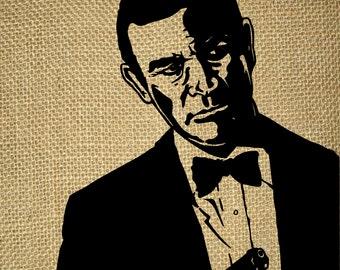 INSTANT DOWNLOAD-Cinema-Movie-Bondiana-Films-TV-Hollywood-code number 007-Sean Connery-James Bond-Transfer-Printable-Digital Sheet-No.794