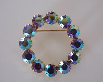 1950s Jewelry Brooch - Aurora Borealis Crystals - 1950s Brooch