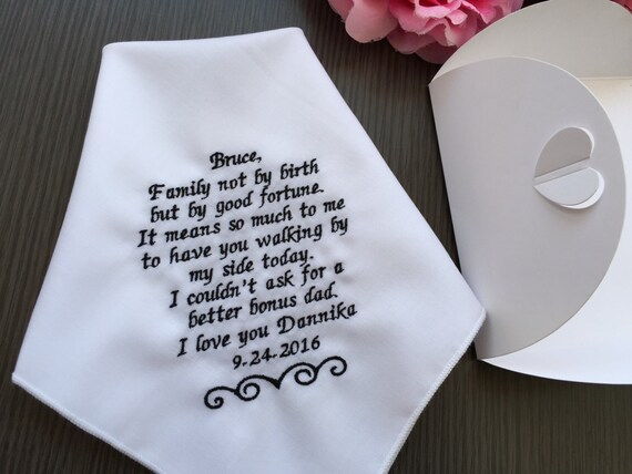 Custom Wedding Handkerchief-Gift For Step Father Of The Bride ...