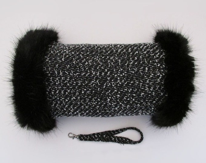 Linton Tweed Black & White Speckle Hand Muff with Black Faux Fur Trim