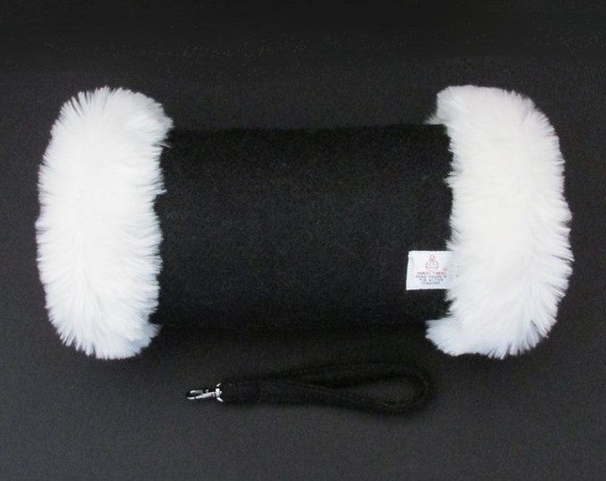 Harris Tweed 100% Wool Jet Black Hand Muff with Ivory Faux Fur Trim