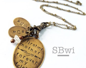 First my mother, forever my friend necklace with initial charms.