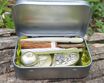 Mini altar kit, miniature altar set, pocket altar tin, very small altar kit, travel altar kit, wiccan starter kit,  pagan gifts, yule gift