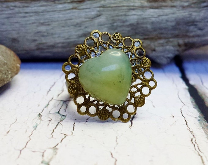 Thumb Ring ~ Green Jade Ring ~ PreEngagement Ring, Birthday Gift For Sister  In Law, 35th Anniversary Gift, Going Away Gift For Female Friend