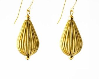 Gold Drop Earrings, Dangle Bead Earrings, Gold Dangle Earrings, Gold Boho Earrings, Bohemian Earrings