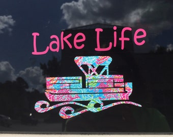 Lake life car decal| lake life | pontoon boat car decal