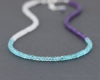 Rainbow Moonstone, Apatite & Amethyst Necklace. Delicate Beaded Choker. Multi Color Gemstone Necklace. Dainty Layering Necklace. Jewelry