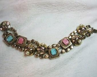 Vintage 3 Strand Cabochon Slide Bracelet 40s 50s