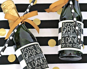Personalized Mini Bottle Labels - Bachelorette Party Favor - Birthday Party Favor - Custom Mini Champagne Label - Black and Gold Party Favor