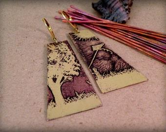 Kite Runner Etched earrings, Dangle & Drop Earrings, Brass earring, Long Earring, boho earring,  Etched Brass, Artware, Hand drawn, Giftidea