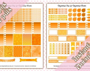 Tangerine Spring Basic Orange Weekly Planner Sticker Kit