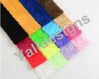 U Pick 3.5cm( 1.3'' inch) 16pcs/lot Lace Elastic Stretch Headbands,Stretchy Baby Headbands,Floral Headbands DIY Accessory-YTK19