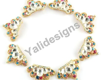 Set of 5pcs 32mm Metal Spark Rhinestone Brooch-Crystal Colorful Crown Style-Wedding &Childeren Headbands or Hair Clips-YTB48
