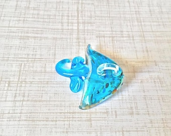 Blown Glass Pendant Blue Sting Ray Glass Art