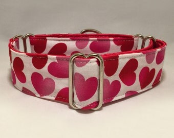 1.5 inch Martingale Collar, Valentine Red Pink Hearts with White Fabric Martingale Collar, Greyhound Dog Martingale Collar