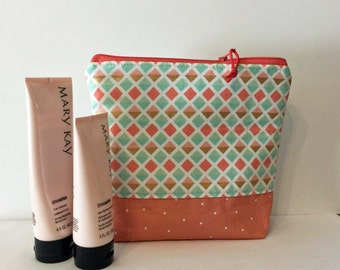 Makeup Bag, Cosmetic Bag, Coral Mint, and Gold Triangles