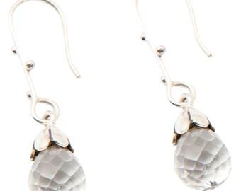 Faceted Crystal Drop Sterling Silver Earrings (SC2523)