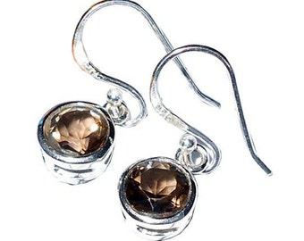 Sterling Silver Faceted Smoky Earrings