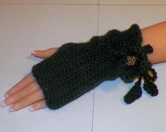 On Sale- Black Fingerless Gloves Gothic Winter  Irish Rose Flower Steampunk Texting Crochet  Victorian Mittens