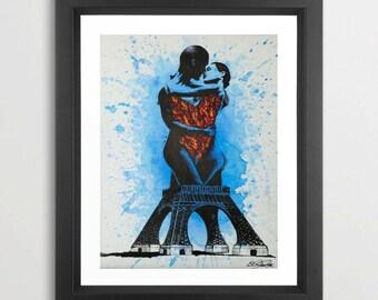 Toujours by Vakseen - Eiffel tower art - Couple Art Print - Portrait Art - Surrealism - Couple kiss - Colorful Art - Love art - Paris love