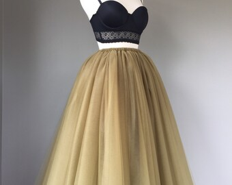Floor length tulle skirt, antique gold tulle skirt, adult tulle skirt, ANY COLOR