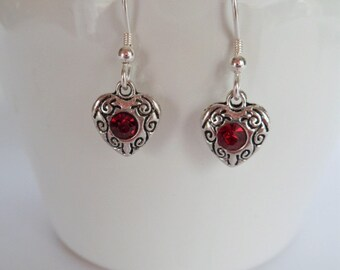 heart earrings, Sterling Silver ear wires, bridesmaid gifts, red stone