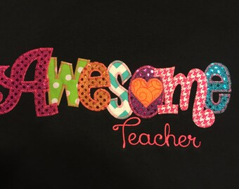 AwesomeTeacher Applique Blingy T-Shirt